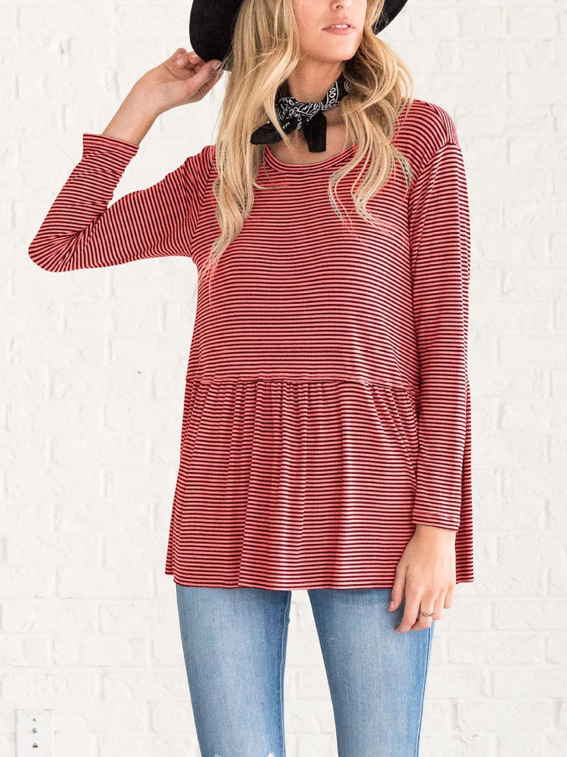 Long Sleeved Striped Wild Top
