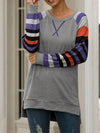 Multicolor Stripe Print Raglan Sleeve Cross Stitching T-Shirt