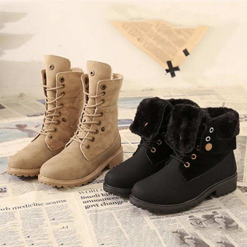 Black/Khaki Winter Chic Martin Boots
