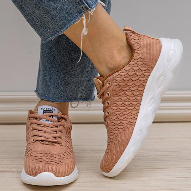 Casual Solid Well-ventilated Lace-up Sneakers