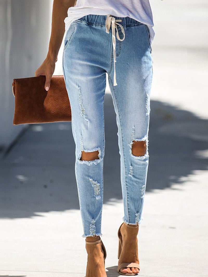Light Blue Drawstring Jeans