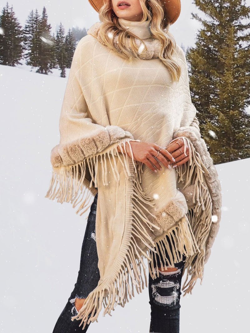 Swing Fringed Casual Poncho Sweater