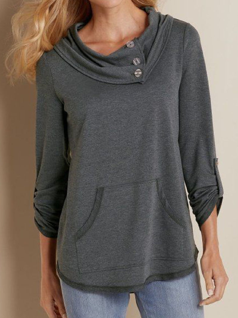 Casual Plus Size Cowl Neck Long Sleeve Sweatershirt