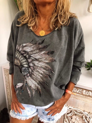 Patterned T-shirt with round neck