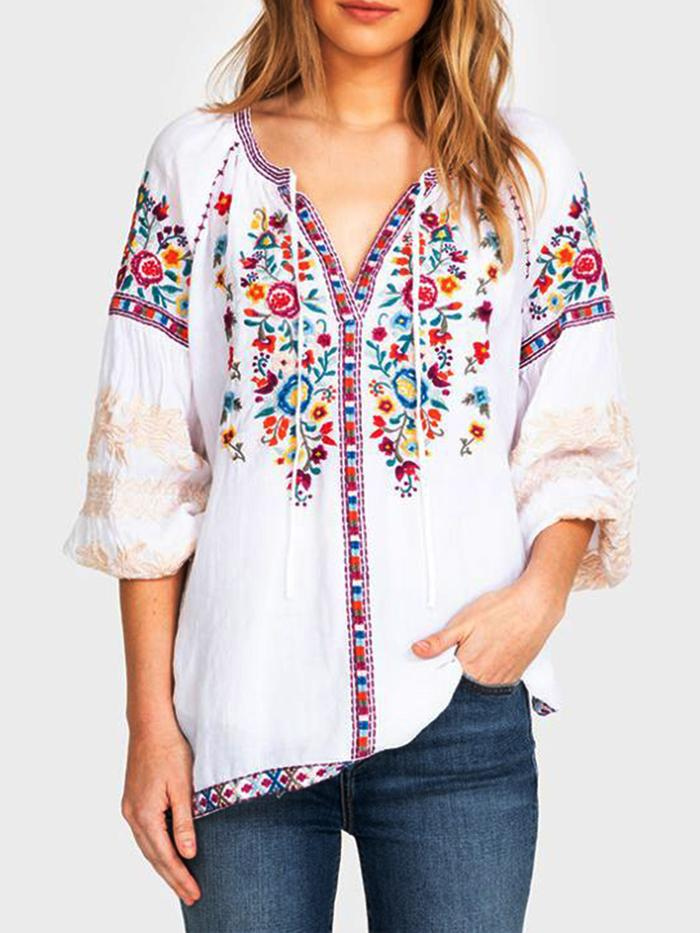 White Long Sleeve Round Neck Shirts Tops