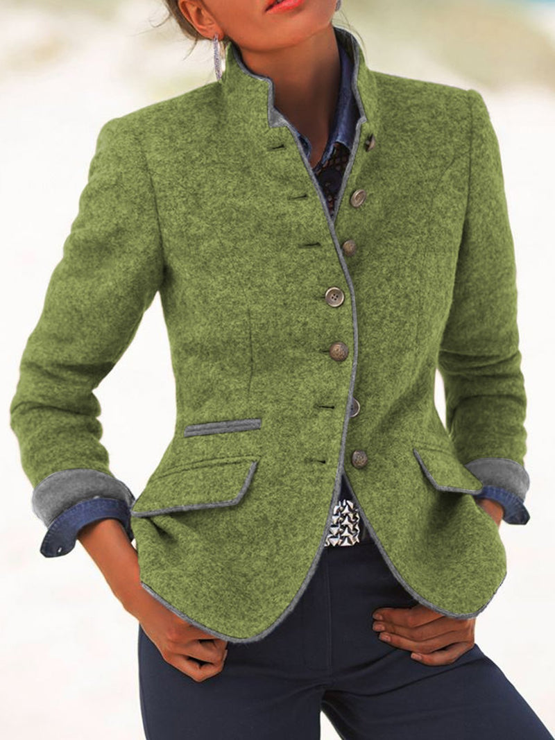 Solid Color Retro Blazer Large Size Stand Collar Jackets