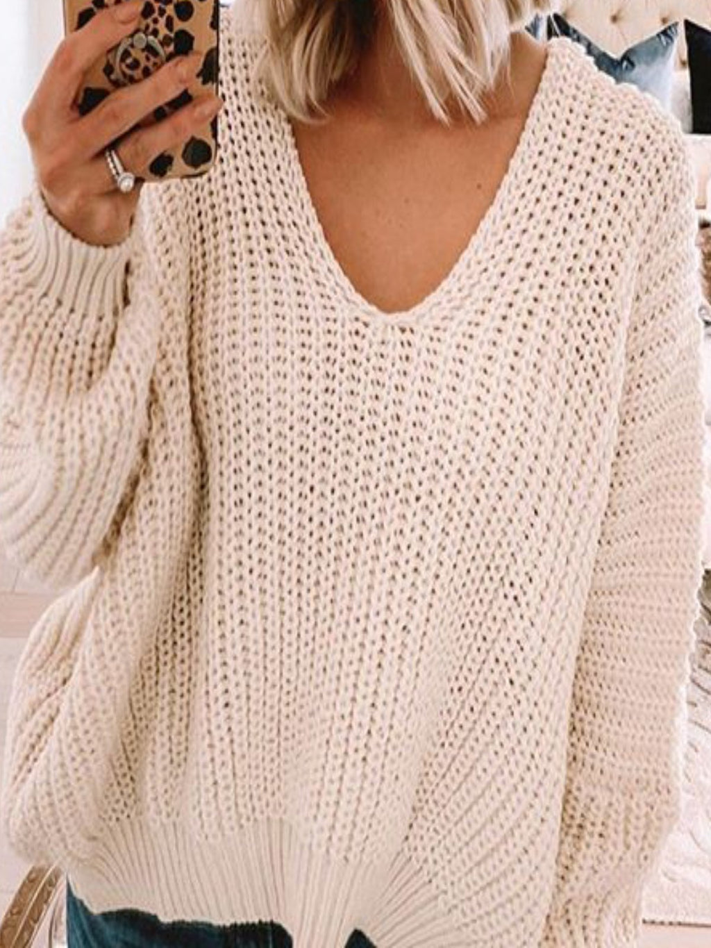 Casual V Neck Long Sleeve Solid Sweater