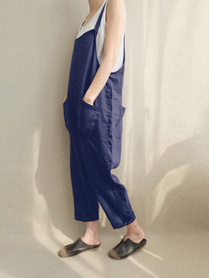Solid Linen Sleeveless Buttons Pockets Plus Size Jumpsuit