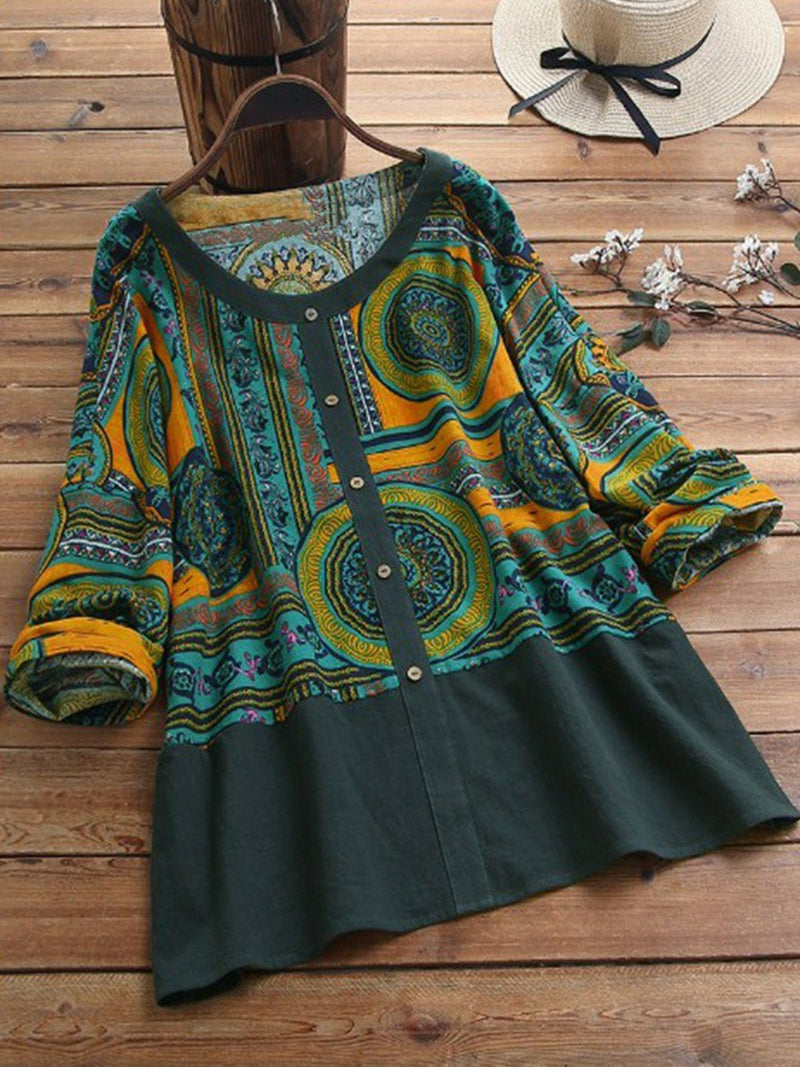 Plus Size Women Long Sleeves Vintage Blouses