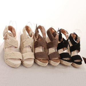 Summer/Spring Straw-weaved Wedge With Adjustable Buckle Sandals