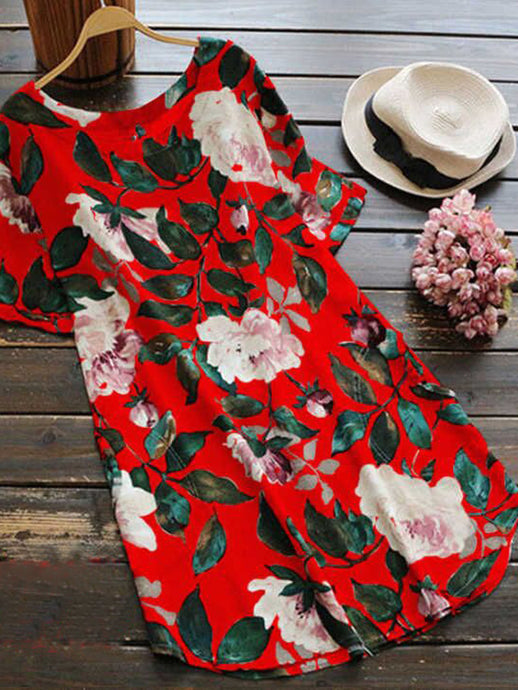 Round Neck Short Sleeve Casual Floral Mini Dress