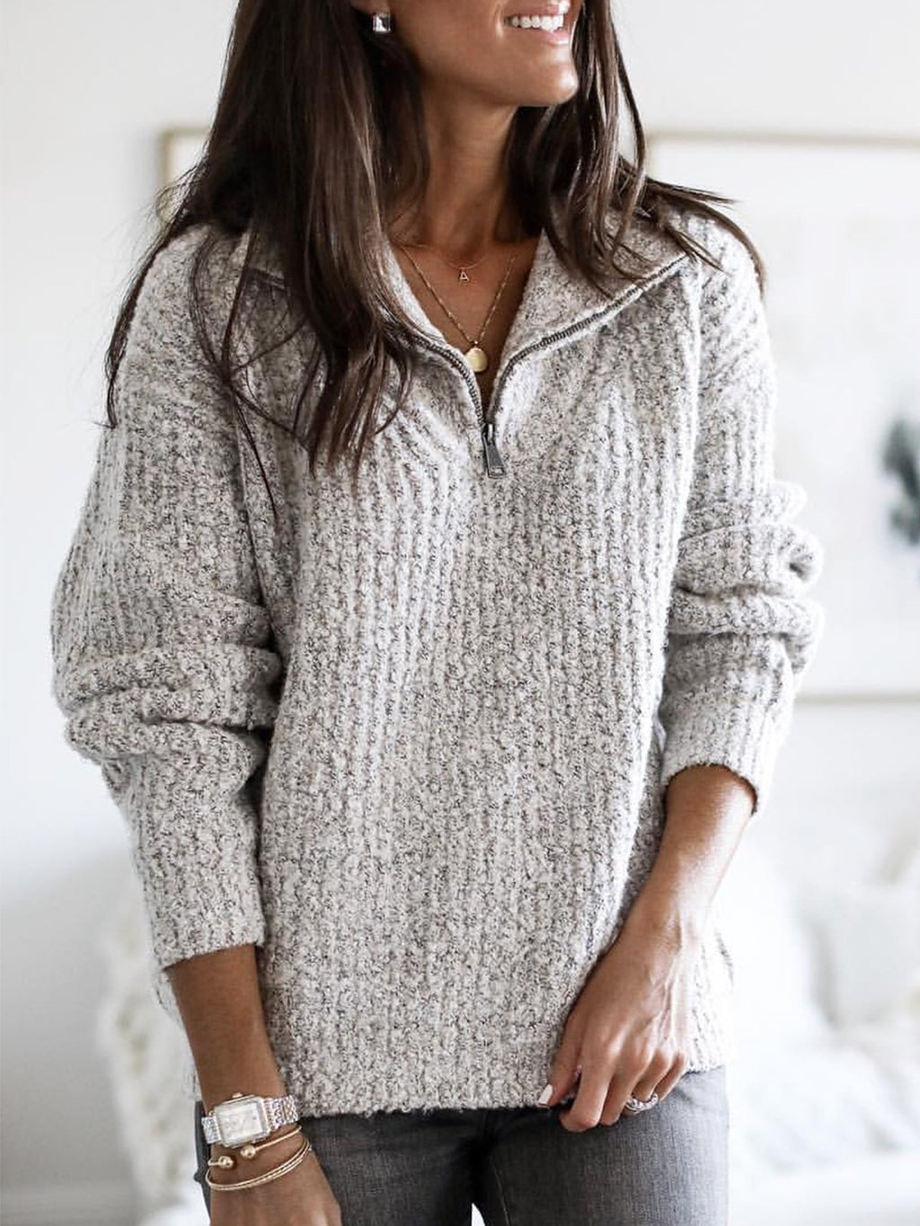 Plus Size Long Sleeve Plain V Neck Casual Sweater
