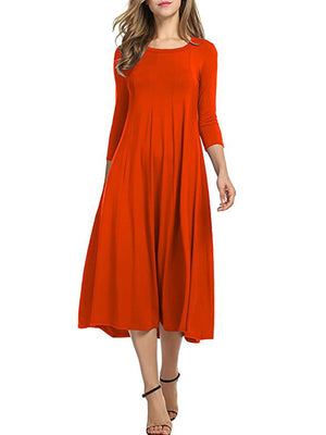 Elegant Crew Neck Daily 3/4 Sleeve Solid Dress