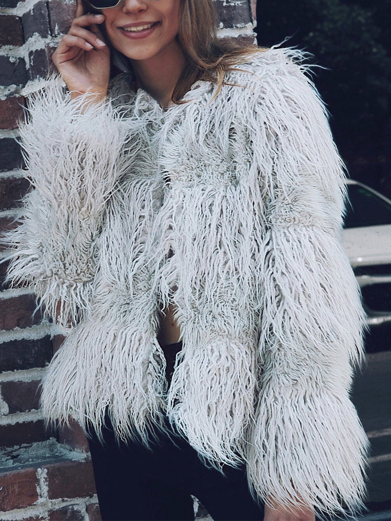 Solid Long Sleeve Faux Fur Plus Size Comfortable Coat