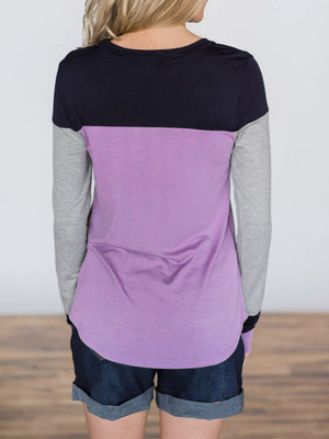 Three-color Stitched Comfortable Slim Casual T-shirt