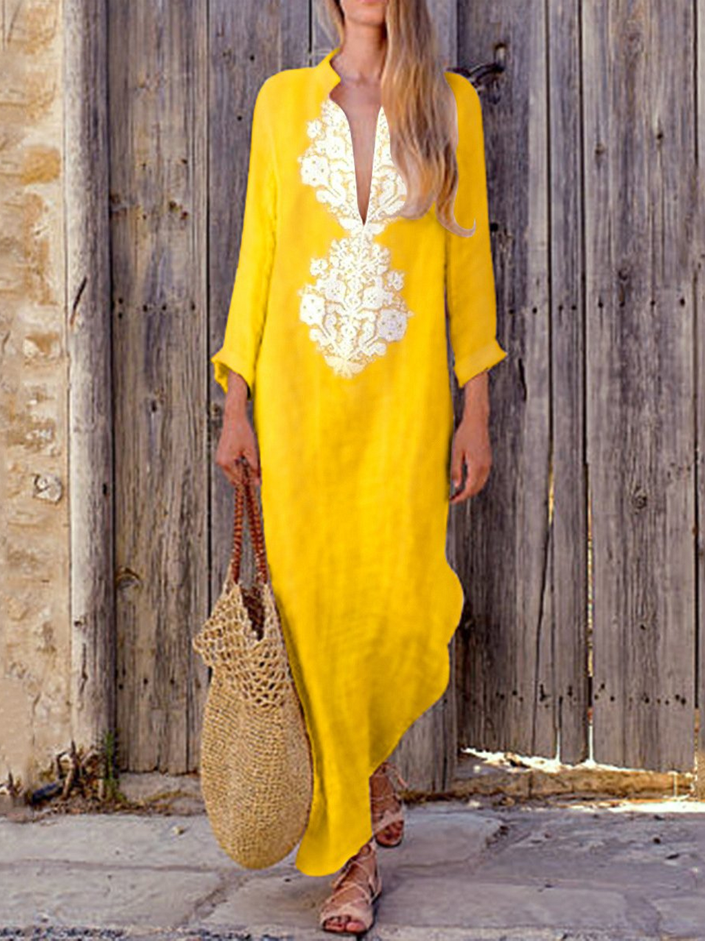 Long Sleeve Cotton/Line Casual V-Neck Yellow Maxi Dresses