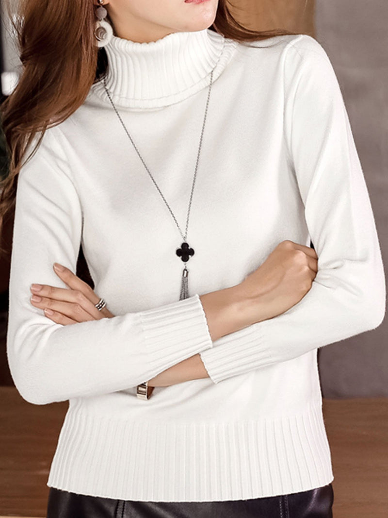 Long Sleeve Turtleneck Cotton Sweater