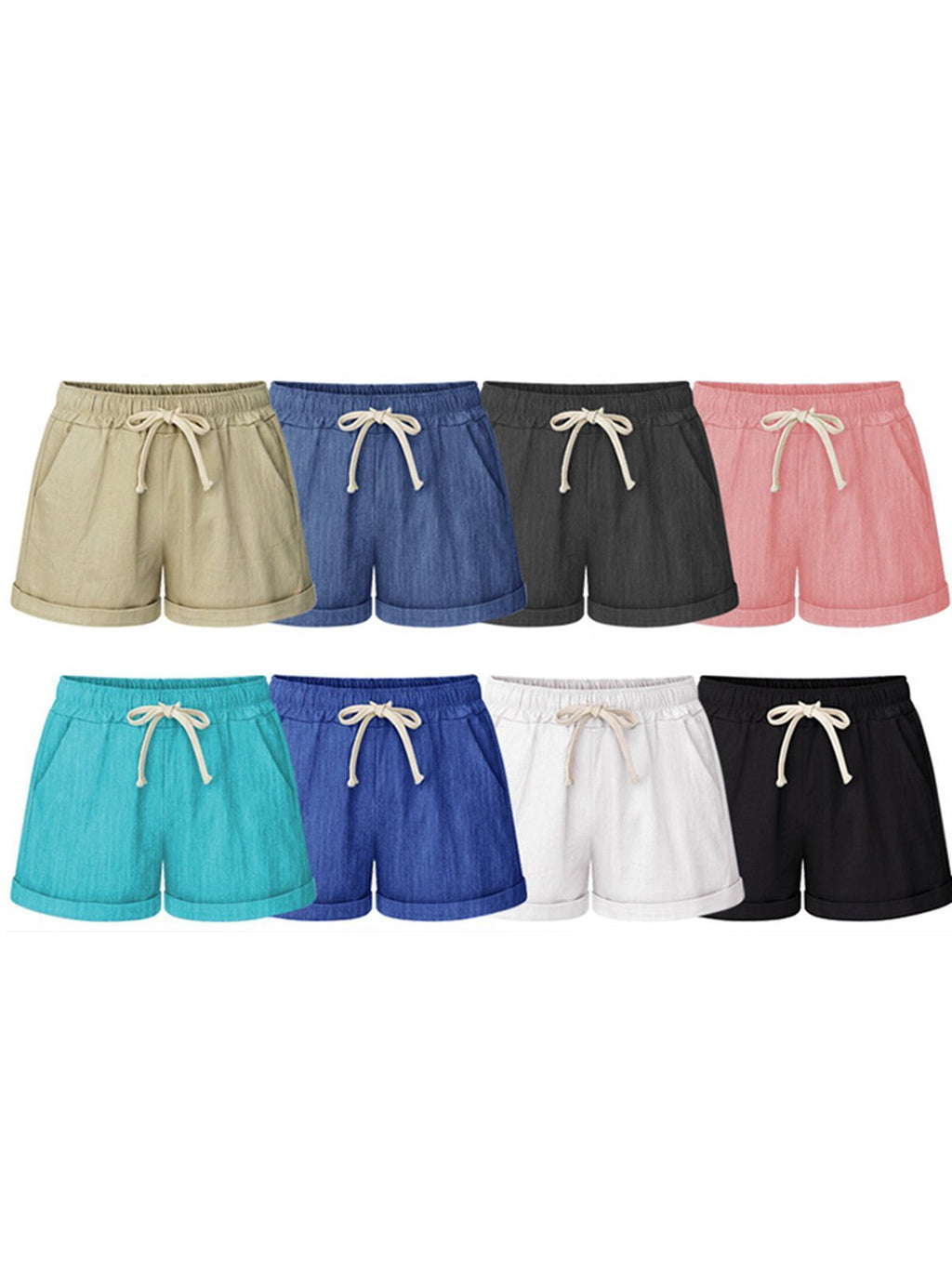 Summer Plus Size Lace Up Elastic Waistband Loose Shorts