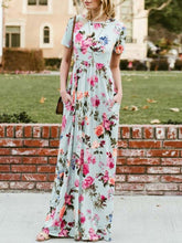 Short Sleeve Floral Printed Crew Neck Maxi Dress