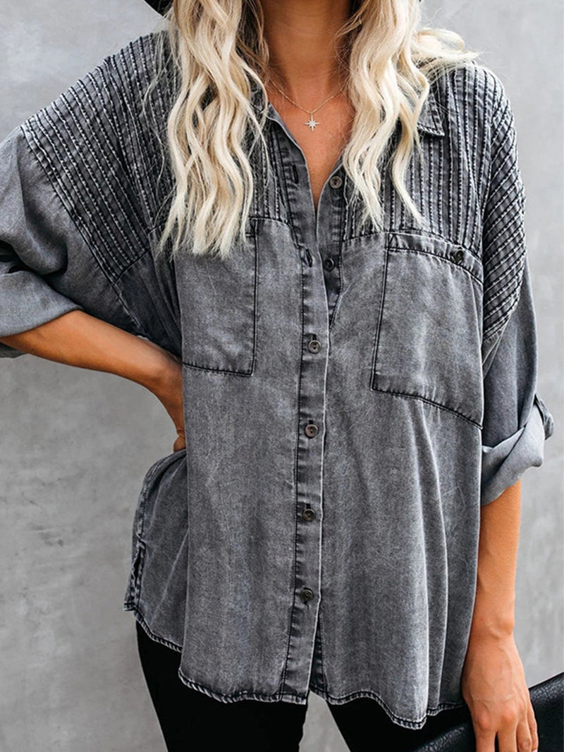 Gray Distressed Denim Button-Down Shirt