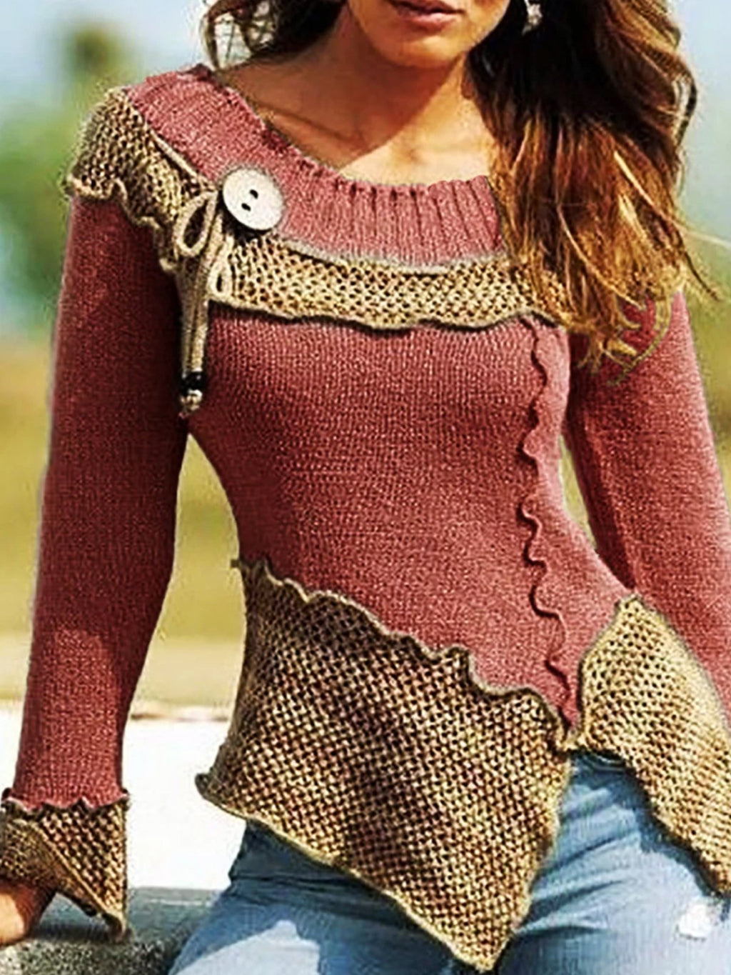 Round Neck Split Joint Long Sleeve Sweaters