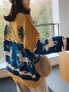Christmas Turtleneck Moose Pattern Knit Sweater