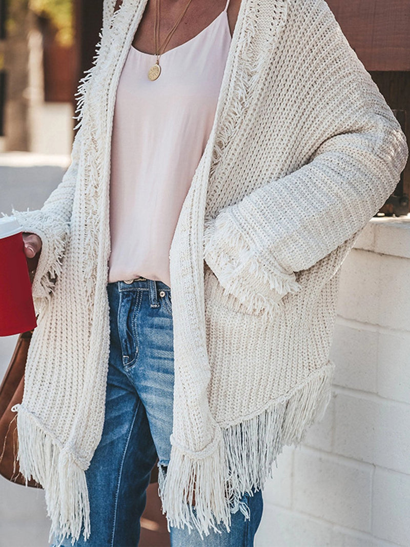 Plus Size Solid White Fringed Hem Cardigan