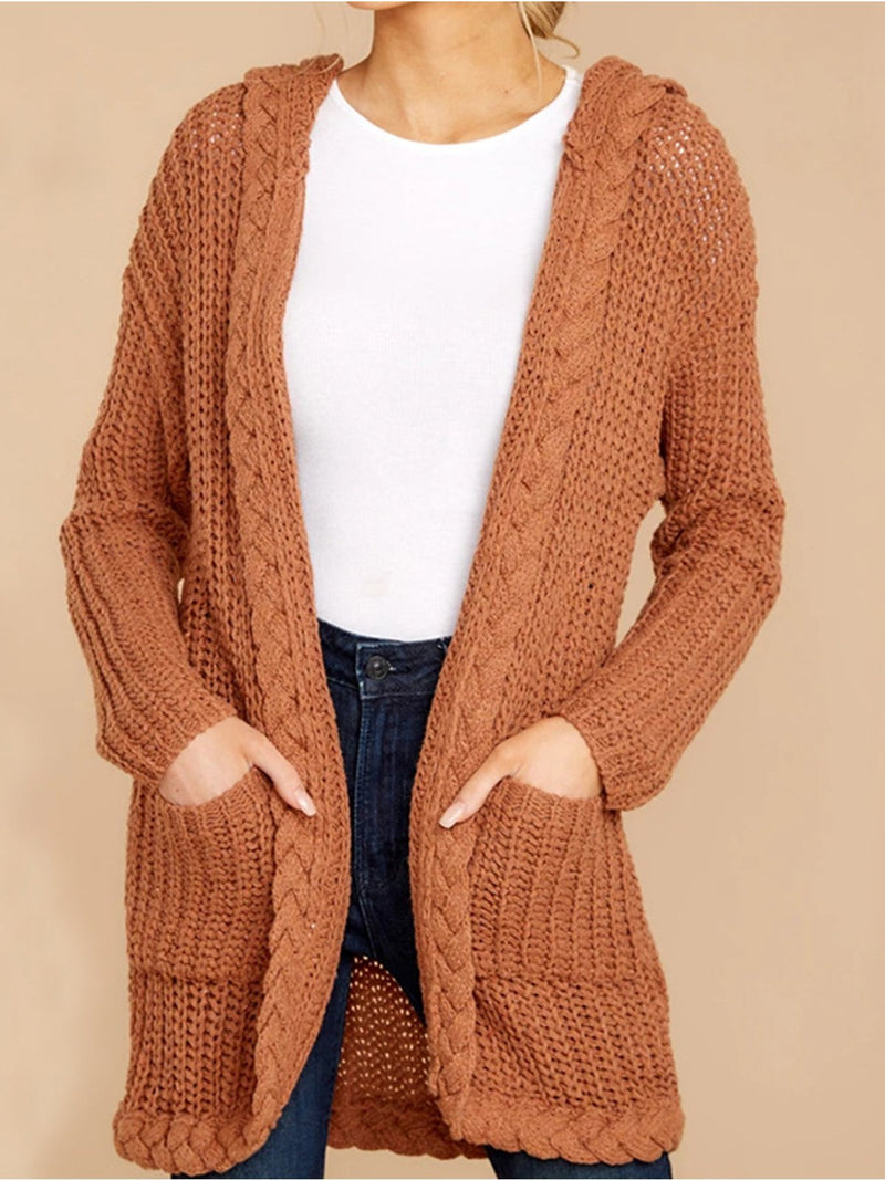 Plus Size Solid Hooded Sweater Cardigan With Pocket