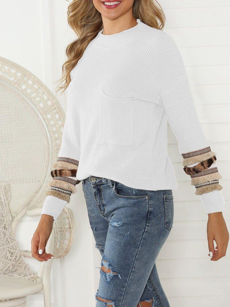 Fringed Sleeve Vertical Pocket Pullover Sweaters