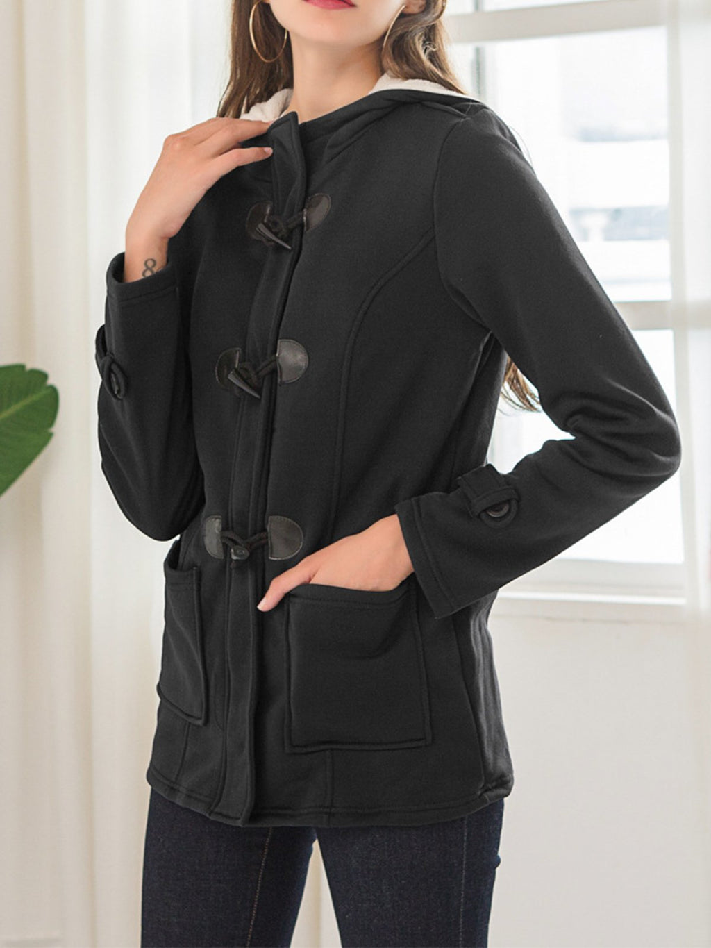 Solid Toggle Vertical Pockets Hooded Coats