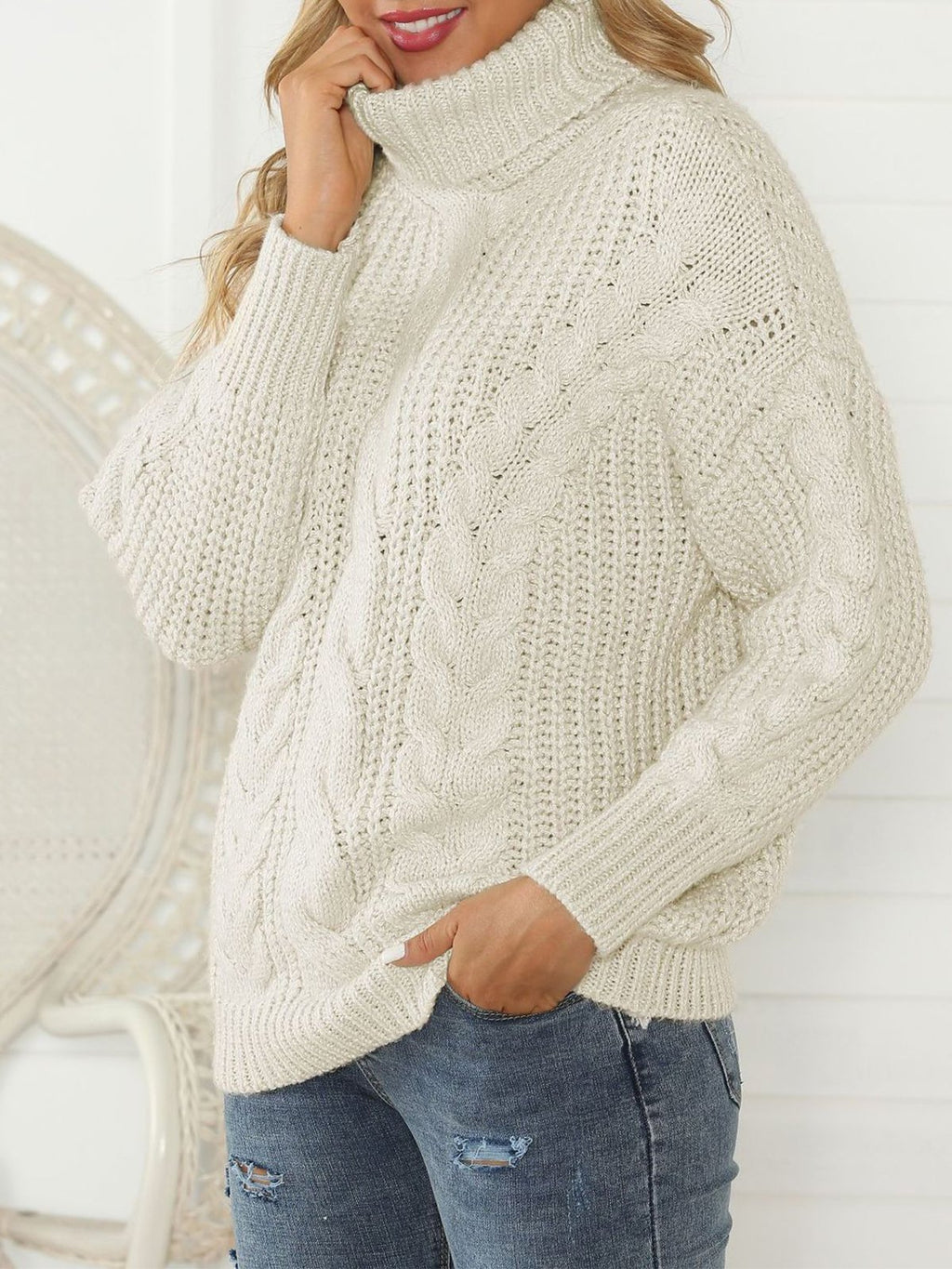 Womens Loose Turtleneck Cable Sweaters