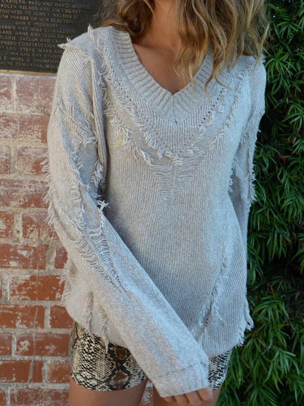 Casual Solid V-neck Pullover Sweaters