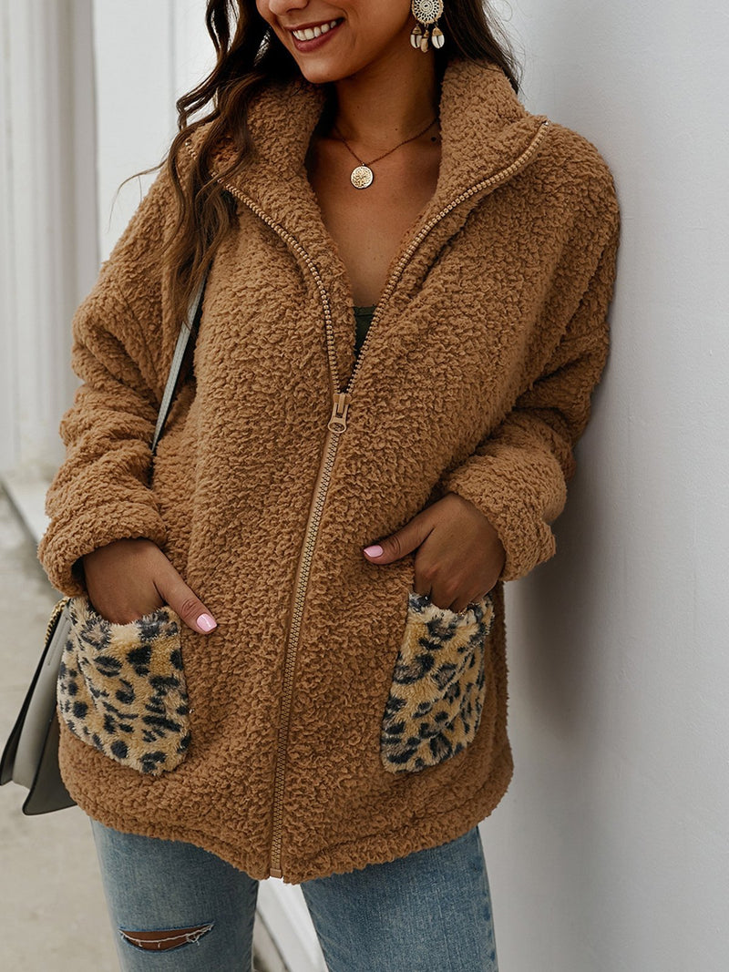Warm Leopard Pocket Coat