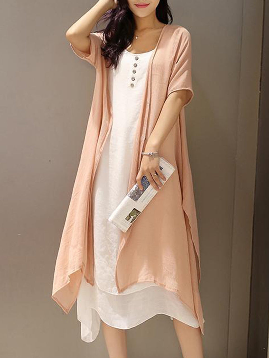 Vintage A-line Midi Two-Piece Linen Dress
