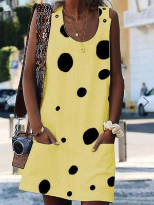 Casual Dot-Print Sleeveless Cotton-Blend Dress