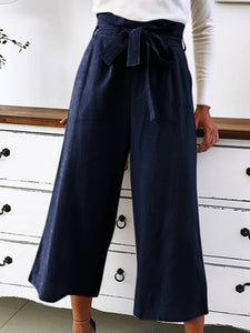 Solid High Rise Wide Leg Cropped Pants