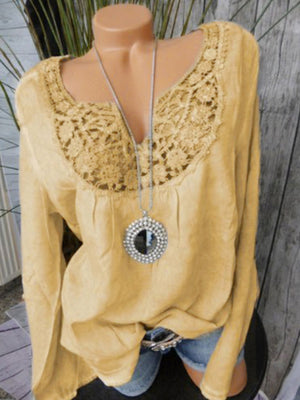 Lace Patchwork Long Sleeve Notched Neck Blouses