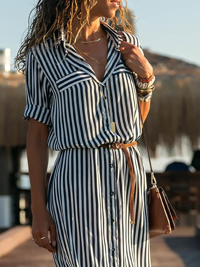 Casual Black-White Casual Shift Dress