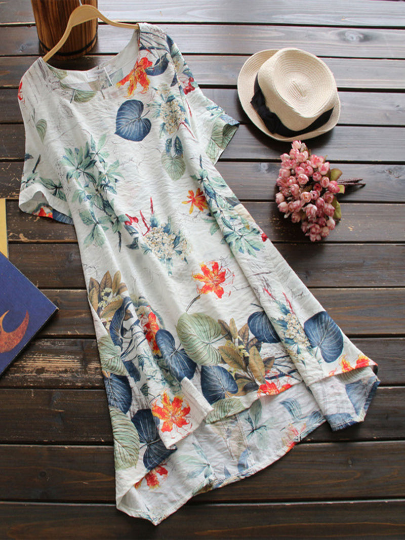 Cotton Floral Tshirt Short Sleeve A-line Dress