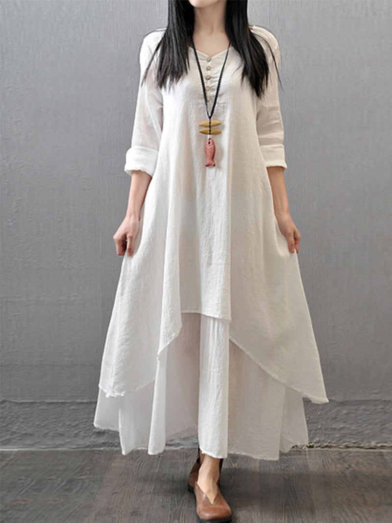 Solid Ruffles 3/4 Sleeves Maxi Shift Dress