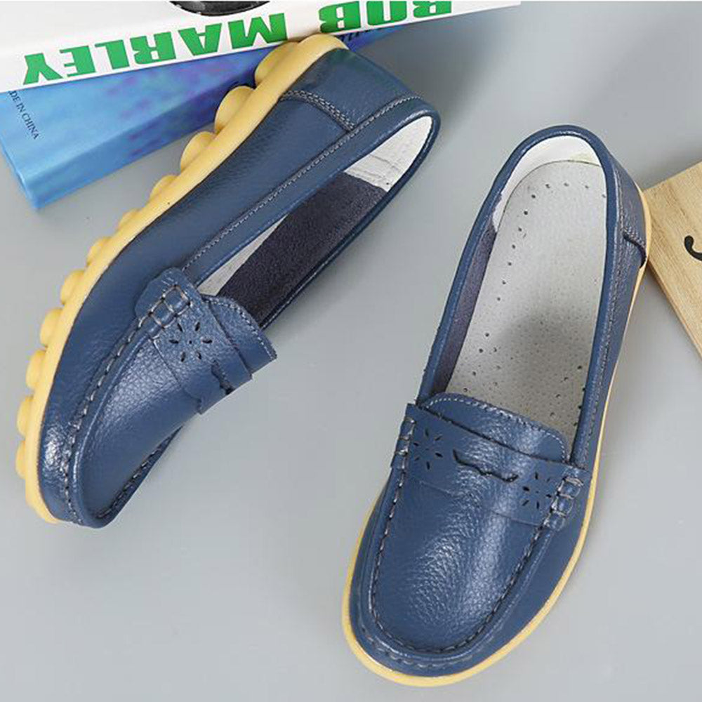 Big Size Pure Color Breathable Soft Leather Flat Loafers