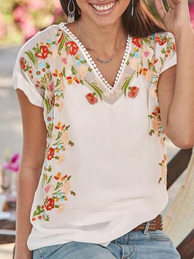 Women Floral Short Sleeve Casual Shirts Blouses