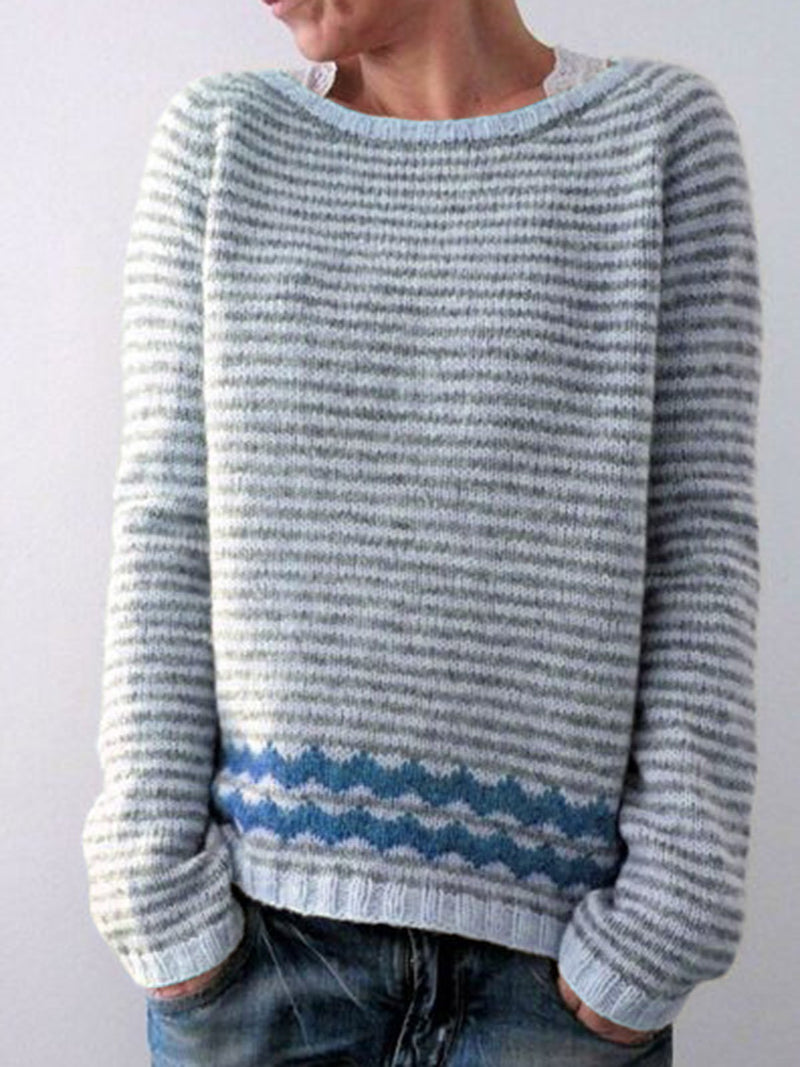 Striped Pullover With Round Neck Casual Sweater