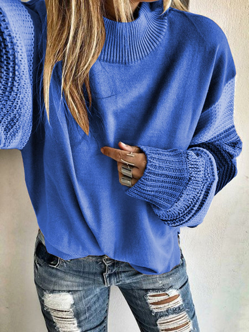 Khaki Crew Neck Long Sleeve Sweater Tops