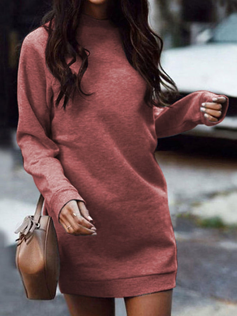 Casual Long Sleeve Sweatshirt Mini Dresses