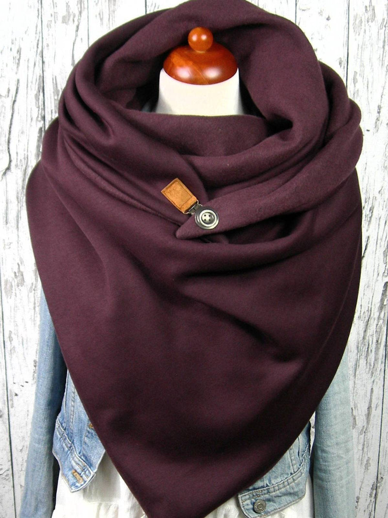 Wine Red Cotton Solid Casual Scarves