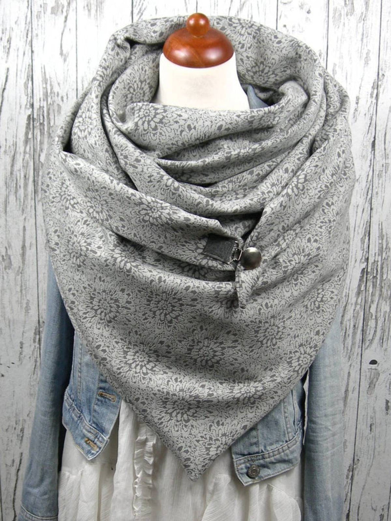 Light Grey Printed Cotton Casual Scarves