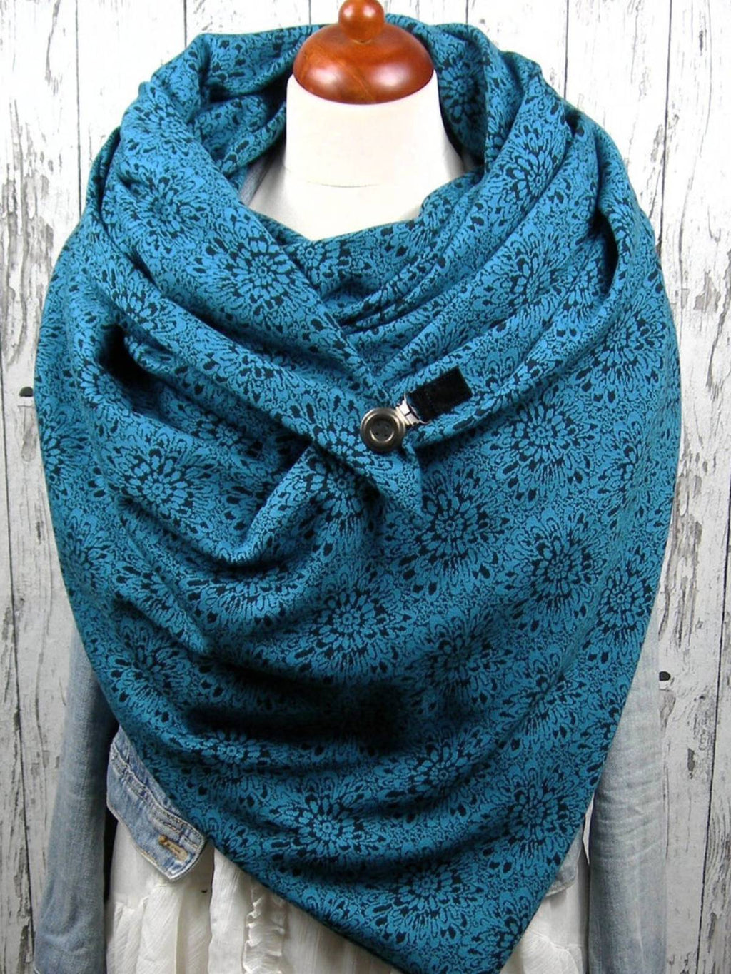 Blue Casual Floral Scarves