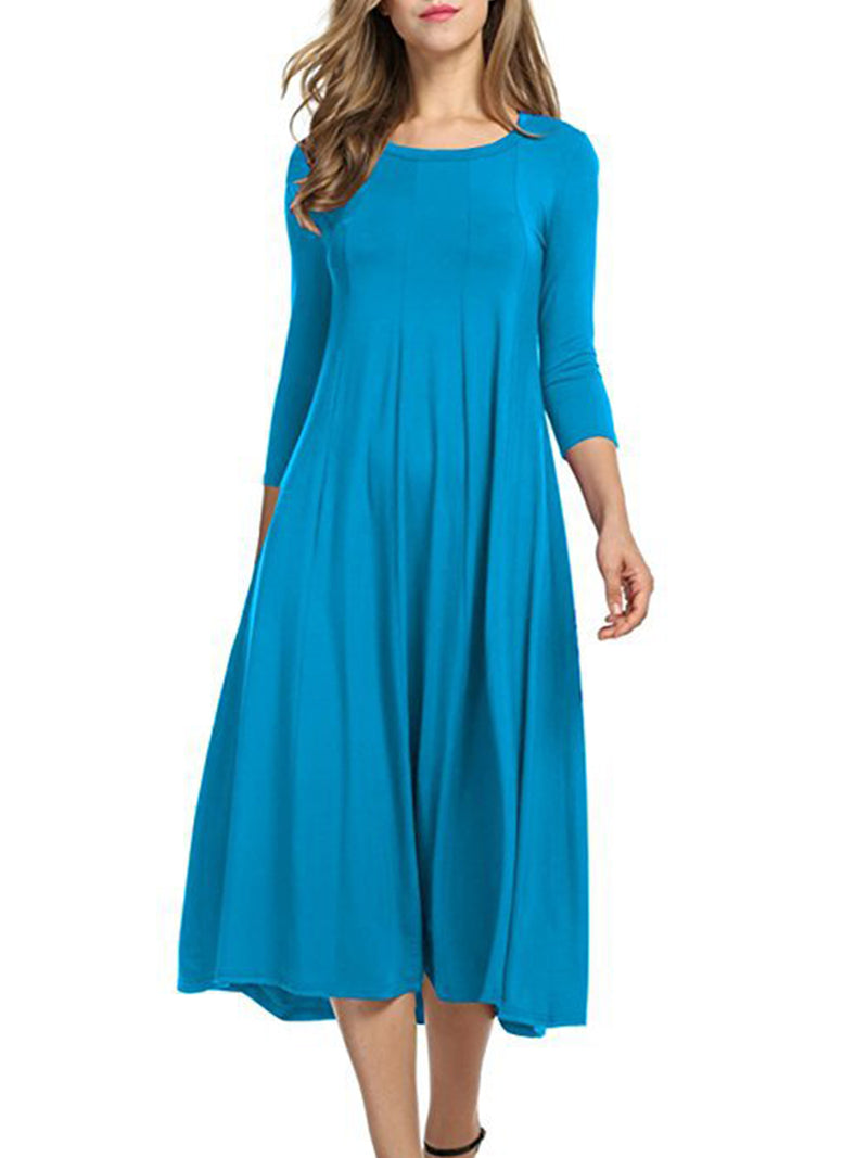 Women Long Sleeves Multicolored Casual Loose Dress