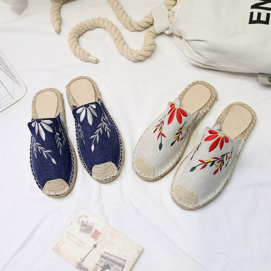 Women Fashion Embroidered Espadrille Flat Slippers Shoes